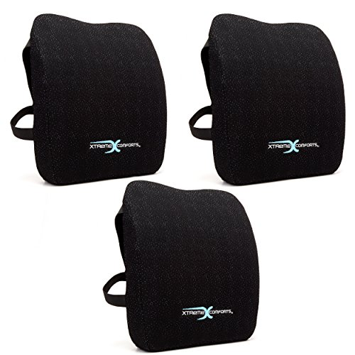 Xtreme Comforts Lumbar Support Pillow for Chair, Gaming Chair, Car Seat, Recliner - Back Posture Corrector Memory Foam Body Pillow with Machine Washable Bamboo Cover & Adjustable Straps (3 Pack)