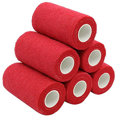 YuMai Selbsthaftende Elastische Bandage, 10 cm x 6 Rollen, Athletic Medizinische Cohesive Bandage, Rot