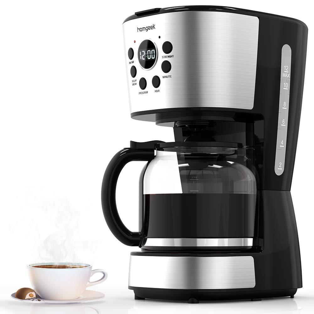 homgeek Cafetera 12 Tazas, Café Maker con Apagado Automático, Placa Calentadora, Filtro Cafeteras con Temporizador, Jarra de Cristal, Filtro Permanente: Amazon.es: Electrónica
