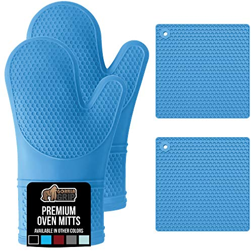 Gorilla Grip Premium Silicone Oven Mitt and Pot Holder 4 Piece Set, Includes 2 Soft Slip Resistant Flexible Kitchen Cooking Mitts and Trivet Mats, Gloves and Potholders for Use on Hot Surfaces, Aqua
