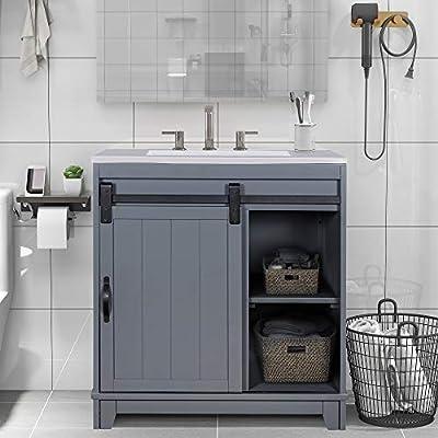 "KKSAFE Bathroom Sink Vanity 30"" X 18"" X 34"" Inch, Narrow Depth Vanities with Sliding Barn Door and White Sink, Small Bathroom Vanity Sink Combo, Storage Vanity Cabinet Vanity Sinks for Bathrooms"