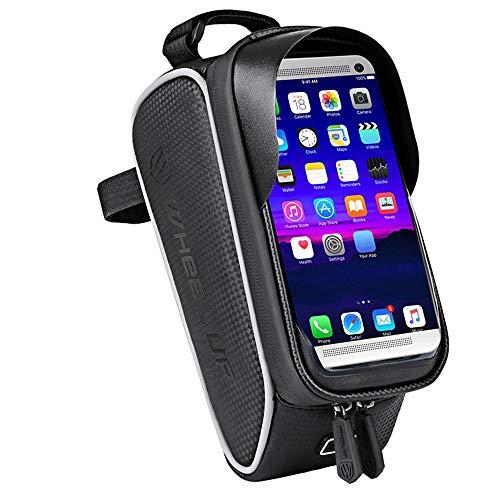 YUHUANG fietstas, waterdicht aanraakscherm, mountainbike-voorbalk, outdoor fietsen, zwart voor mobiele telefoons minder dan 6,0 inch.