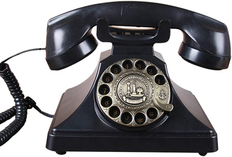 Telephones & Accessories Telephone Old-Fashioned Antique Telephone American Retro landline Home Office Phone Black Metal Rotation (Color : Black, Size : 221820cm)