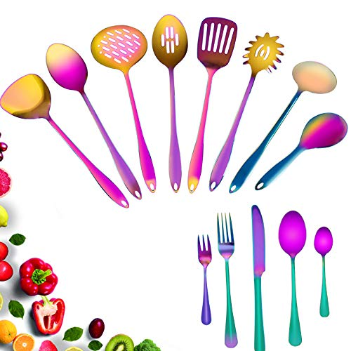 Stainless Steel Kitchen Utensil Set - 13Pcs Stainless Steel Nonstick Flatware Set Rainbow Cooking Utensil Sets Colorful Titanium Plated Set Kitchen Tools Includes Forks, Knives, and Spoons