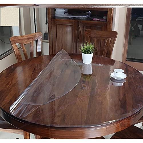 Sonakia Mantel Cristal Transparente,Cubierta De Mesa Vinilo Plástico Limpiable,Almohadilla Protectora PVC Suave,para Comedores,cocinas,oficinas,manteles Redondo Duradero,1,5mm,130cm/51in