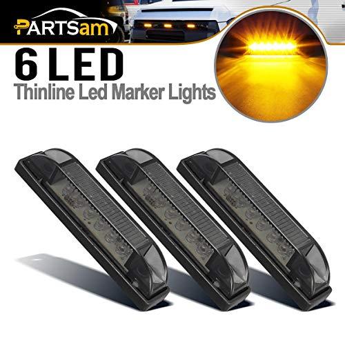 Partsam 3Pcs 4' Inch Amber LED Center Grille Running Marker Light Kit Smoke Lens Pro Grille