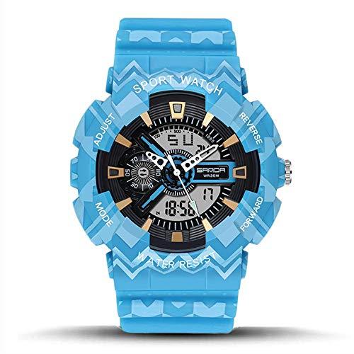 SXXYTCWL For Hombre Reloj Digital de Deportes it 30M Impermeable al Aire Libre a Prueba de Golpes cronógrafo Relojes de Pulsera for Hombres con LED de Alarma Fecha Volver Ligh jianyou (Color : Blue)