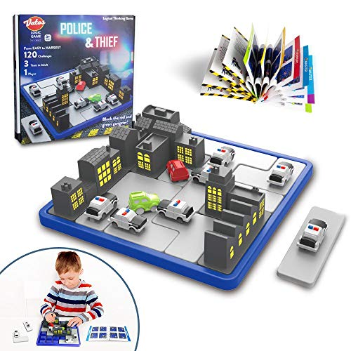 VATOS Logic Games for Kids STEM Toy Puzzle Games Police & Thief Educational Brain Games Board Games Smart Game with 120 Challenges Inference Game Car Games Brain Teaser for Boys and Girls Age 3 and Up