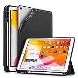 ESR iPad 7 ケース 2019モデル ペンシル収納可能 iPad 10.2インチ カバー ソフトフレキシブル 耐衝撃 傷防止 オートスリープ/ウェイク ペンシルホルダー付き 三つ折りスタンド iPad第7世代2019専用(ブラック)