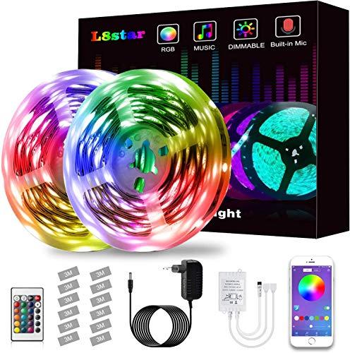 LED Strip, L8star LED Streifen Farbwechsel Led Lichterkette 10M RGB Flexible LED Bänder Strips mit Bluetooth Kontroller Sync zur Musik Anwendung für Schlafzimmer, Party und Feriendekoration (10M)