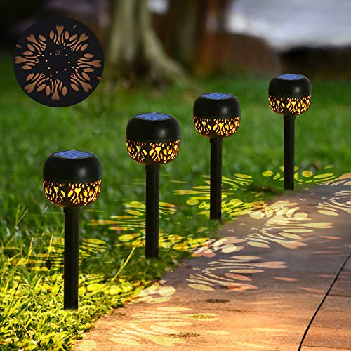 4 Pcs Solar Pathway Lights - Solar Powered Torch Lights Outdoor IP65 Waterproof 24 Lumen with Dancing Flames and Auto ON/Off - Dusk to Dawn Solar Garden Lights Warm White for Lawn and Patio