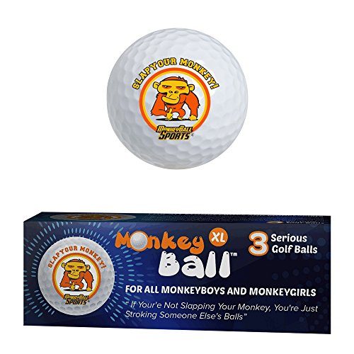 Slap Your Monkey! Ultimate Joke or Prank for Your Buddy's Golf Game! | Gag Golf Balls | 3 XL Novelty Golf Balls USGA Conforms | Exploding Golf Ball Power | Funny Golf Balls White Elephant | Golf Gift