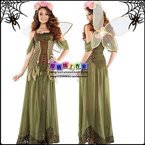 WSJDE Disfraz de Halloween Disfraz de Demonio de Halloween Disfraz de Bruja Cosplay Elfo del Bosque Verde Falda Larga Conjunto de Mariposa L