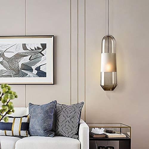 Mode Moderne Eenvoudige Grijze Rook Frosted Glas Kroonluchter Warm Licht LED Lamp Woonkamer Slaapkamer 12 * 12 * 38cm LED