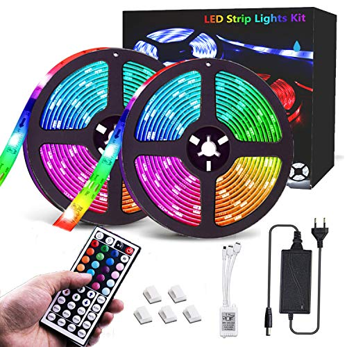 CGN LED Streifen, 10M RGB LED Strip, IP65 Wasserdicht 300 LEDs 5050SMD LED Lichterkette Bänder Hintergrundbeleuchtung mit Netzteil 44-Tasten Fernbedienung Kit für Innen außen Beleuchtung Deko