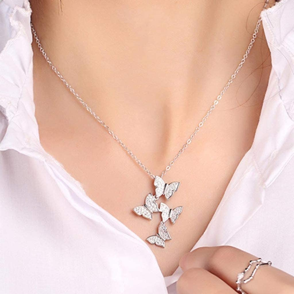 XINSHUN Real 925 Sterling Silver Necklaces Superior Attention brand Zircon Long Butterfly