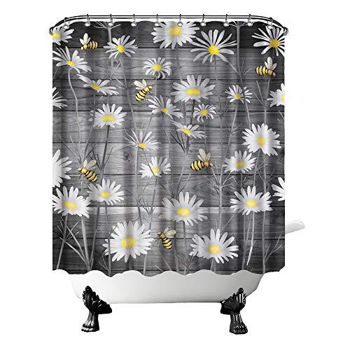 Rustikaler Gänseblümchen-Duschvorhang mit grauen Blumen & Bienen im Frühjahr, Badezimmervorhang, floraler Stoffvorhang für Bauernhaus-Dekoration mit Haken, 183 x 183 cm, Gelb / Dunkelgrau