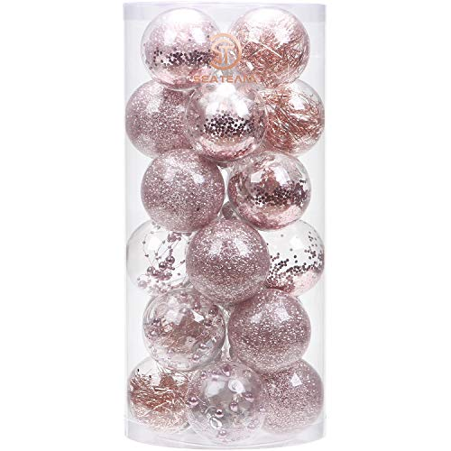 Sea Team 70mm/276quot Shatterproof Clear Plastic Christmas Ball Ornaments Decorative Xmas Balls Baubles Set with Stuffed Delicate Decorations 24 Counts Rose Gold