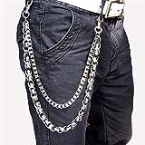 YFJCL Chaîne de Poche Men's Lourd Taille Biker Crâne Portefeuille Porte-clés Punk Punk Moto Hip Pantalon en Cuir Denim Belin Chaîne Accessoires Bijoux Bijoux Accessoires de Jeans (Color : Black)