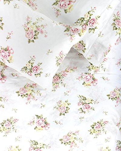 Melange Home 400TC Series Rose Bouquet Sheet Set, Cal King, White/Pink