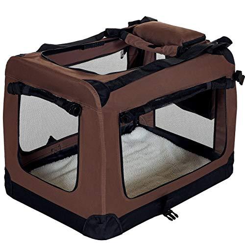 PET VIOLET Transportbox Hundebox Faltbar Katzenbox Hunde Tragetasche 70x52x50 cm, Braun