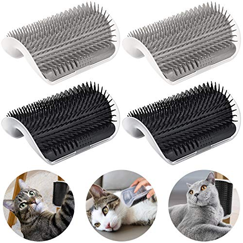 Cat Self Groomer Arch 4PCS Self Cleaning Slicker Brush Upgraded Cat Brushes Wall Corner for Shedding...