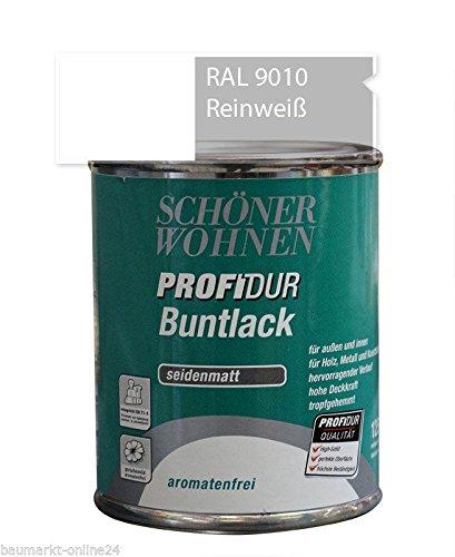 Profidur Buntlack 125 ml RAL 9010 Reinweiß Seidenmatt Schöner Wohnen