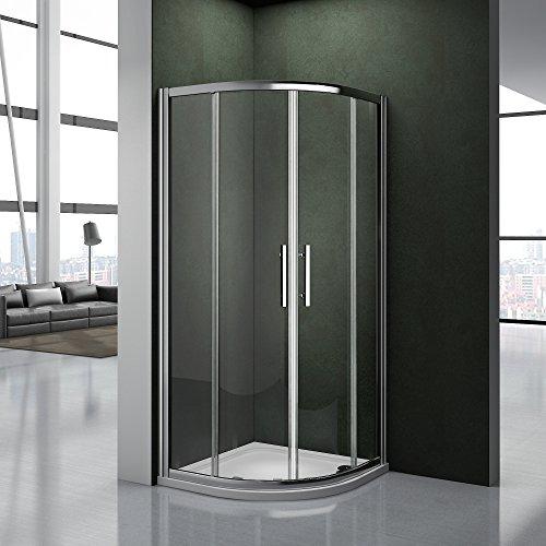 Cabina doccia 80x80cm Semicircolare Porta Scorrevole Facile Da Installare Cristallo Temperato Trasparente Anticalcare