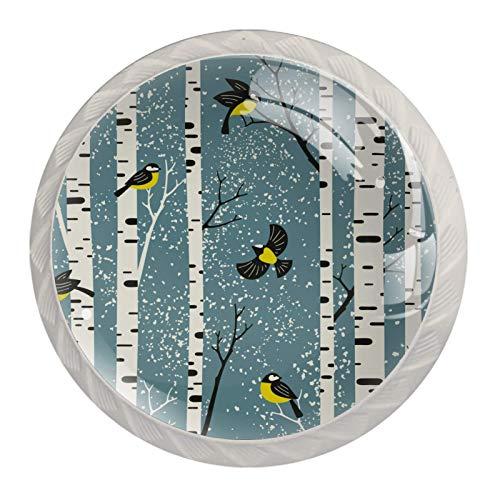 Abedules nevados y pájaros sobre fondo azul claro 4PCS Pomo de armario, tirador para cajón, Pomos y Tiradores de Muebles,Pomos, pomos, para Puertas, Armarios de Cocina,Cajones - un solo agujero