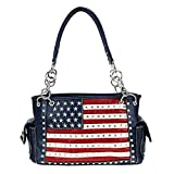 Montana West Concealed Carry Satchel Purse American Patriotic Pride Flag Tote Messenger Handbags for Women Navy CW-US04G-8085-NY
