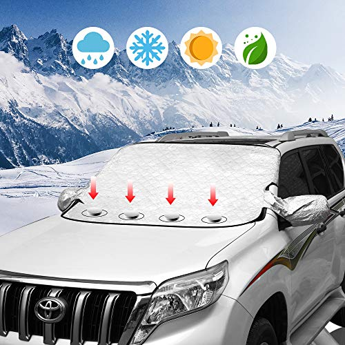 Car Windshield Snow Ice Cover Magnetic Winter Frost Protector Cover with Two Mirror