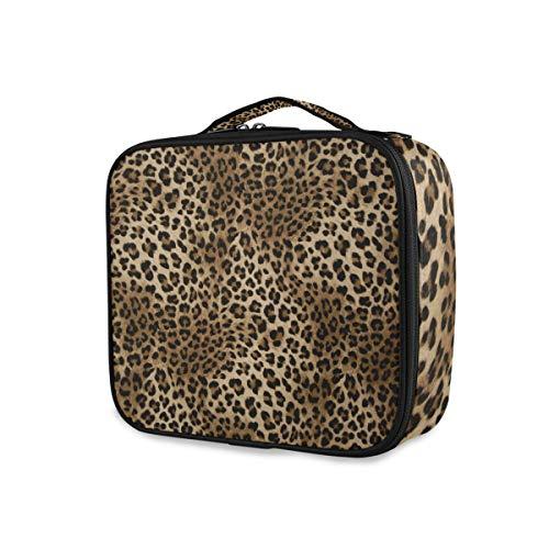 DOSHINE - Grande custodia per treno da trucco, motivo leopardato con tigre animale, organizer portatile per trucchi, trousse professionale multiuso per la bellezza con divisori regolabili