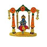 Decoración y atuendo indios bañados en oro con piedra Dios Shri Krishan para salpicadero de coche, estatua Lord Krishna Idol Makhan Chor Handicraft (7.00 cm)
