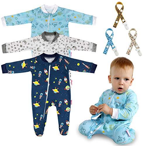 Lictin Strampler Baby Strampler Babykleidung Strampler Junge Schlafstrampler Baumwolle mit Schnuller Band für Neugeborenes 6-10Monate