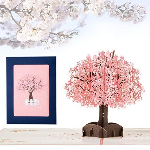 Kesote Pop Up Karte Glückwunschkarten 3D Geburtstagskarte Kirschbaum Geschenkkarten Liebe Grußkarte für Mutter Vater Kinder Freund