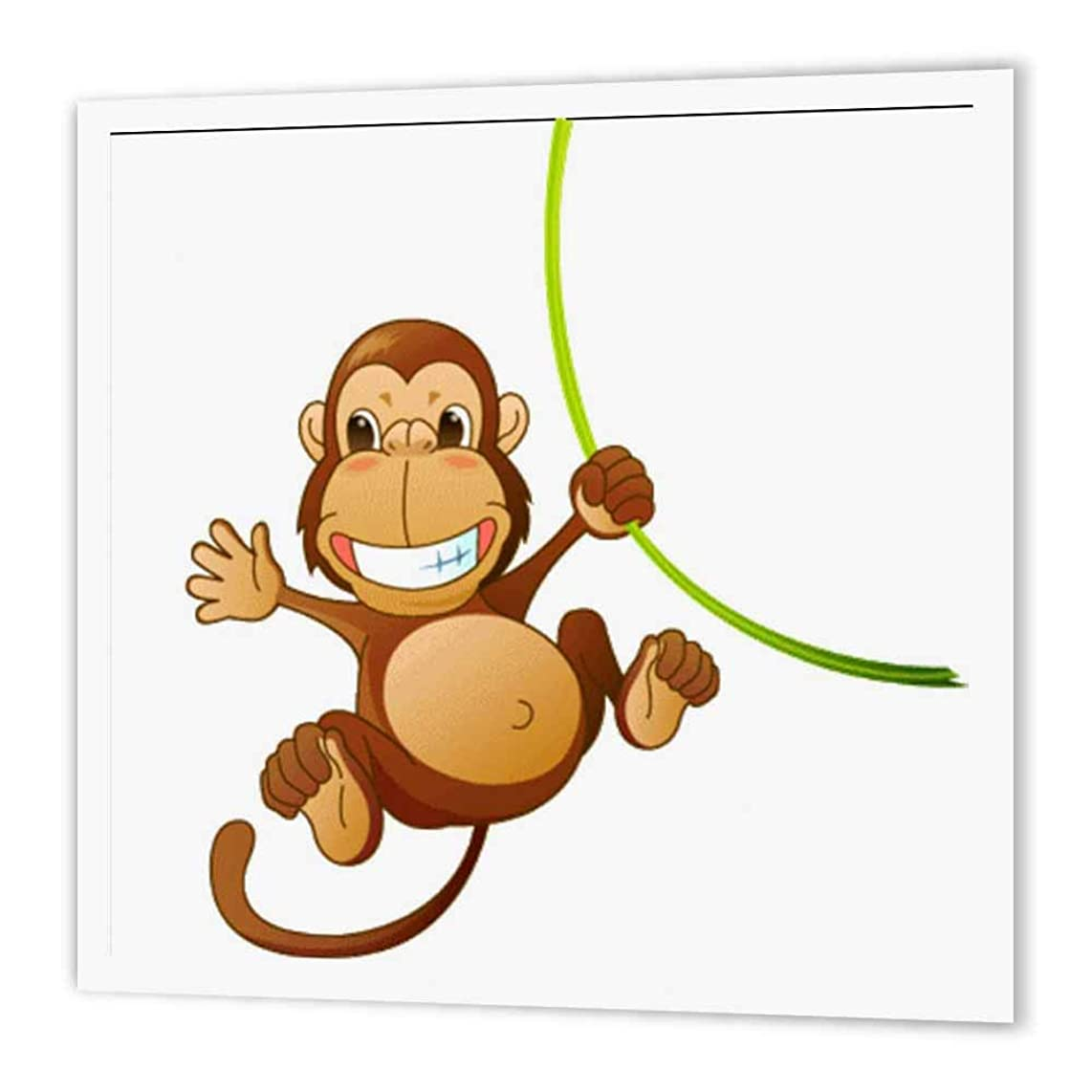 3dRose ht_37462_3 Cute Cartoon Monkey on Green Vine-Iron on Heat Transfer Paper for White Material, 10 by 10-Inch