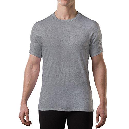Sweatproof Undershirt for Men with Underarm Sweat Pads (Original Fit, Crew Neck) Heather Grey