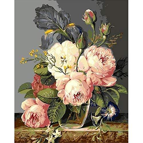 xhzzdhbc Verf door Numbers voor Volwassenen DIY pot bloem canvas olie schilderij kunst woonkamer muur toren nachtscène acryl schilderij