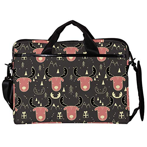 TIZORAX Laptop Messenger Shoulder Bags Moose Pattern Computer Sleeve Notebook Carrying Case 15-15.4 inch Handbag