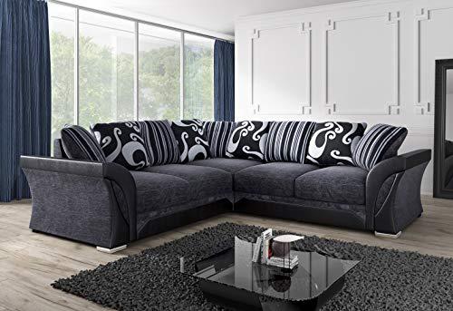 Luxury Sofas & Couches | Sofá esquinero grande | Piel Farrow y tela de chenilla | cómodos asientos rellenos de espuma | Gris y Negro | Resistente al fuego según las normas británicas