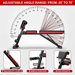 Home Gym Adjustable Weight Workout Bench, Abdominal Training Workout Bench, Sit Up Incline Curved Bench, Flat Fly Weight Press Fitness – Easy to Carry