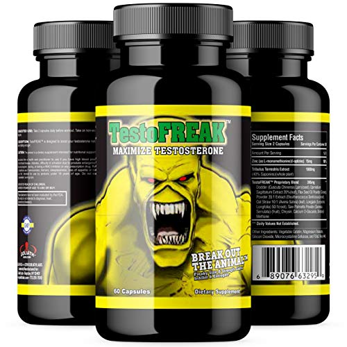 GL TestoFREAK - 100% Natural Testosterone Booster for Size and Strength Gains - Inhibits DHT and Estrogen - Supports Muscle Growth and Recovery - Stimulant Free Made in The U.S.A. Supplement