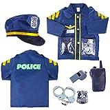 HYMAN Juego de 6 piezas de policía, juego de rol para niños, disfraz de policía, disfraz de policía de Halloween