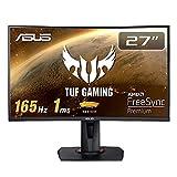 ASUS TUF Gaming ゲーミングモニター VG27VQ 27インチ湾曲 フルHD 165Hz 1ms HDMI DP DVI Freesync Premium ELMB