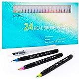 Watercolor Brush Pens, Real Brush Pen, 24 Color Painting Markers...