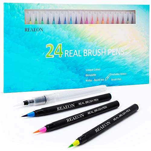 Watercolor Brush Pens, Real Brush Pen, 24 Color Painting Markers with Flexible Nylon Tips for Drawing Calligraphy Coloring, 1 Bonus Water Brush Pen for Artists and Beginner Painters
