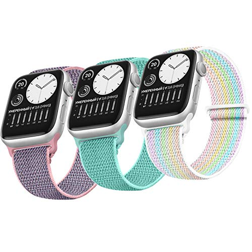 JUCC 3 Pack Correas Compatible con Apple Watch 44mm 42mm 38mm 40mm,Pulseras de repuesto de Nylon Correa para iWatch Series 5 4 3 2 1,Mujer y Hombre (42mm/44mm,Rosa Sand/Verde océano/Vistoso)
