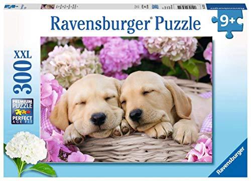 Ravensburger Kinderpuzzle - 13235 Süße Hunde im Körbchen - Hunde-Puzzle für Kinder ab 9 Jahren, mit 300 Teilen im XXL-Format