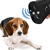 AUOKER Hand Held Bark Stopper, Electronic Ultrasonic Dog Repeller Anti Barking Device with LED Flashlight Training Dog's Good Behaviour for Outdoor Camping Garden -Dual Channel, Range of 50 ft (Black)
