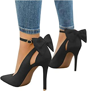 Women's Pointed Toe High Heels Ankle Strap D'Orsay Pumps Shoes Bow Wedding Bowtie Back Dress Sandals